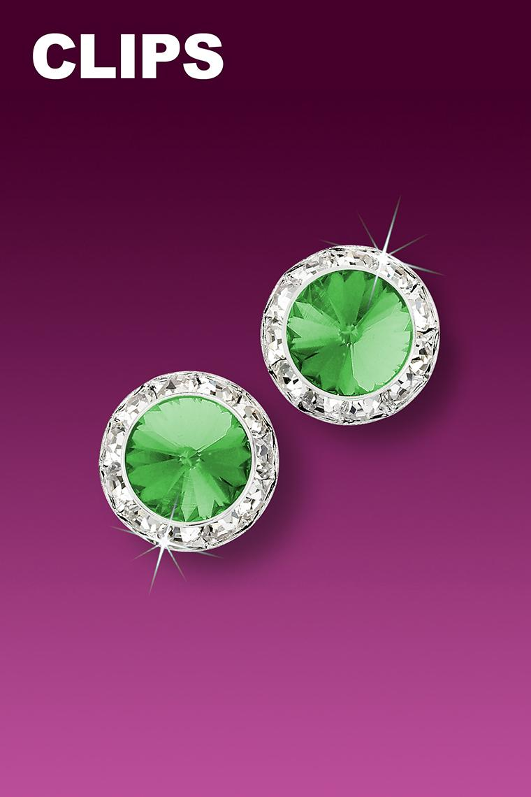 11mm Rhinestone Dance Earrings - Light Green Clip-On