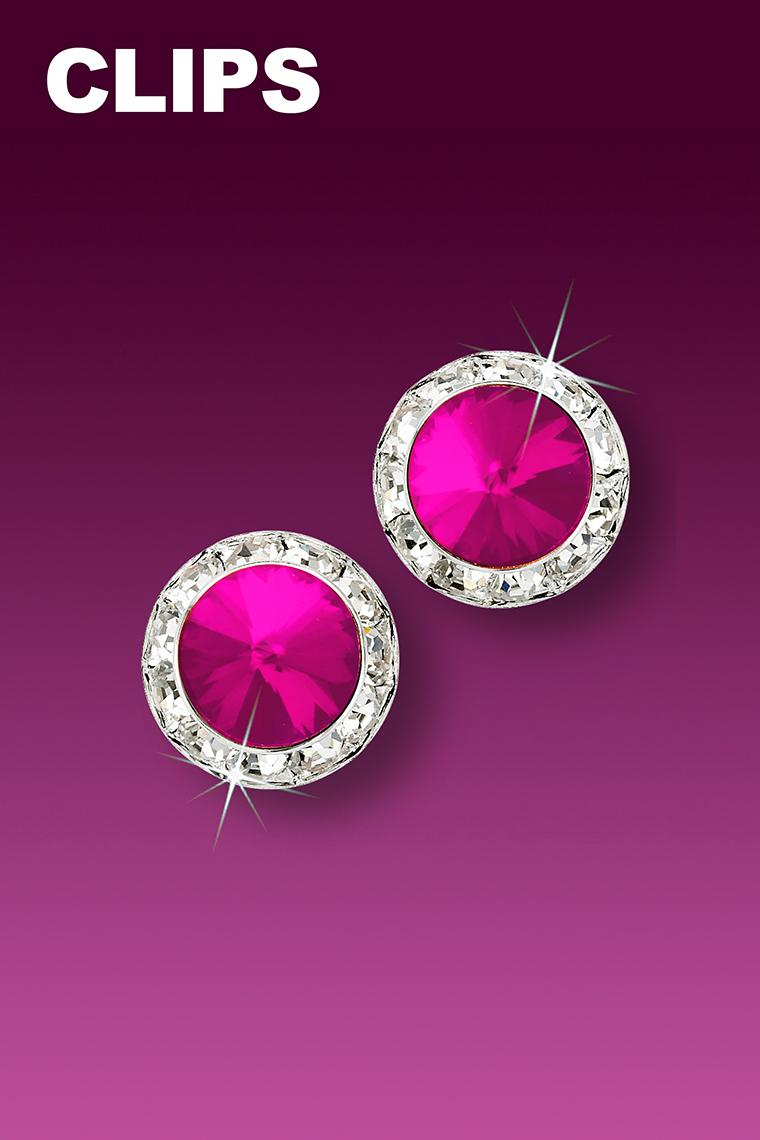 11mm Rhinestone Dance Earrings - Hot Pink Clip-On