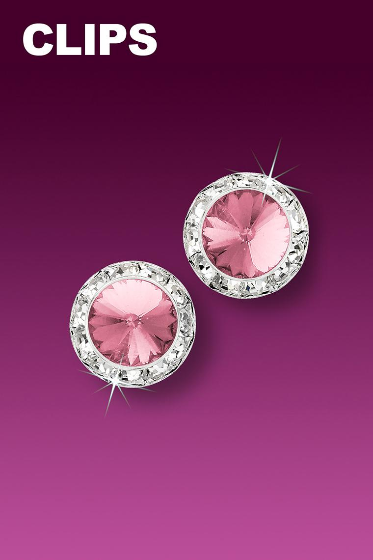 11mm Rhinestone Dance Earrings - Light Pink Clip-On