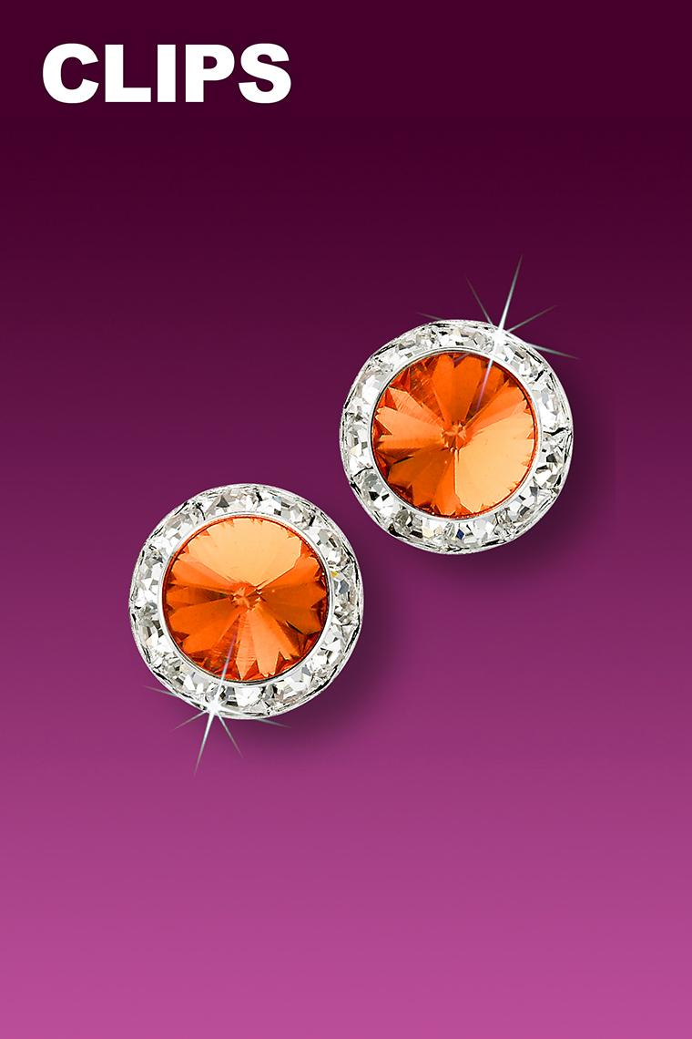 11mm Rhinestone Dance Earrings - Orange Clip-On