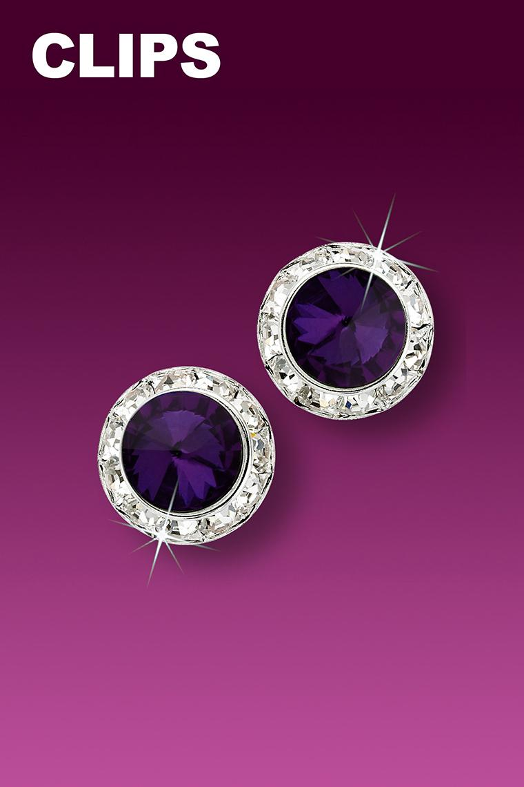 11mm Rhinestone Dance Earrings - Dark Purple Clip-On