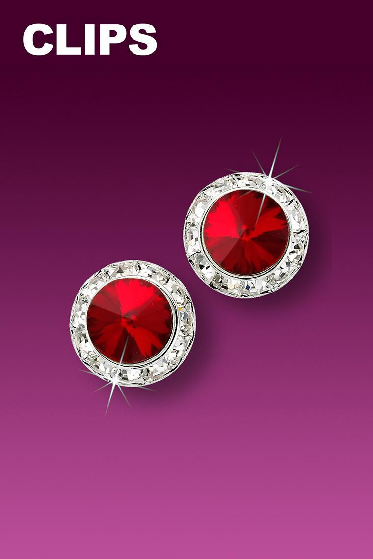 11mm Rhinestone Dance Earrings - Red Clip-On