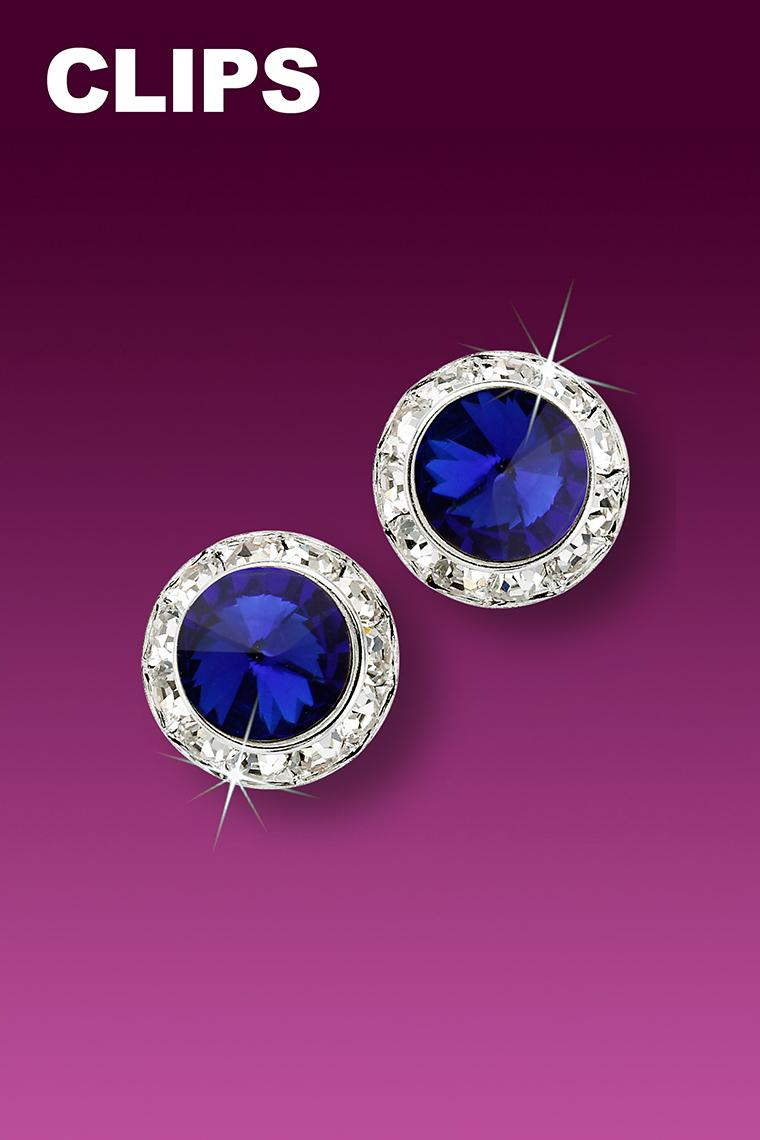 11mm Rhinestone Dance Earrings - Dark Blue Clip-On