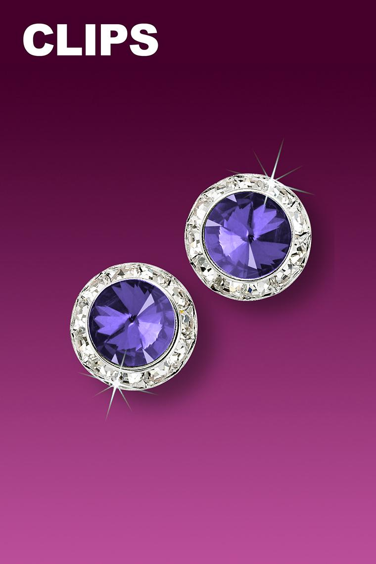11mm Rhinestone Dance Earrings - Medium Purple Clip-On