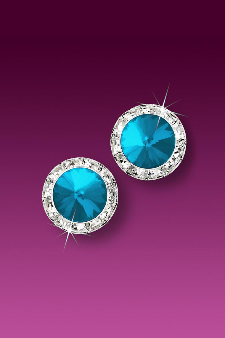 11mm Rhinestone Dance Earrings - Bright Blue Pierced