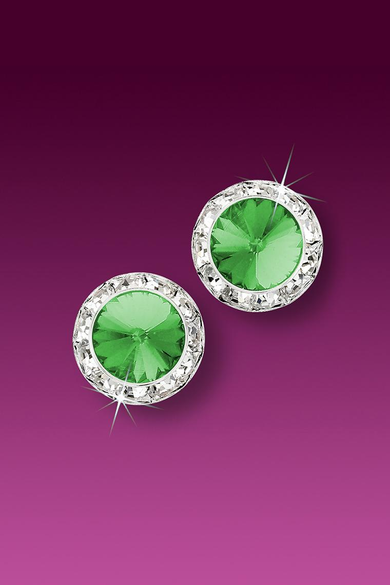 11mm Rhinestone Dance Earrings - Light Green Pierced