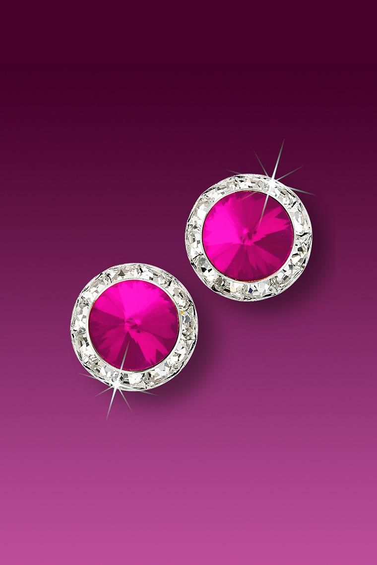 11mm Rhinestone Dance Earrings - Hot Pink Pierced