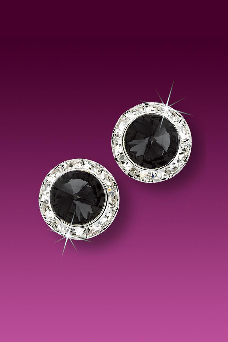 11mm Rhinestone Dance Earrings - Black Pierced