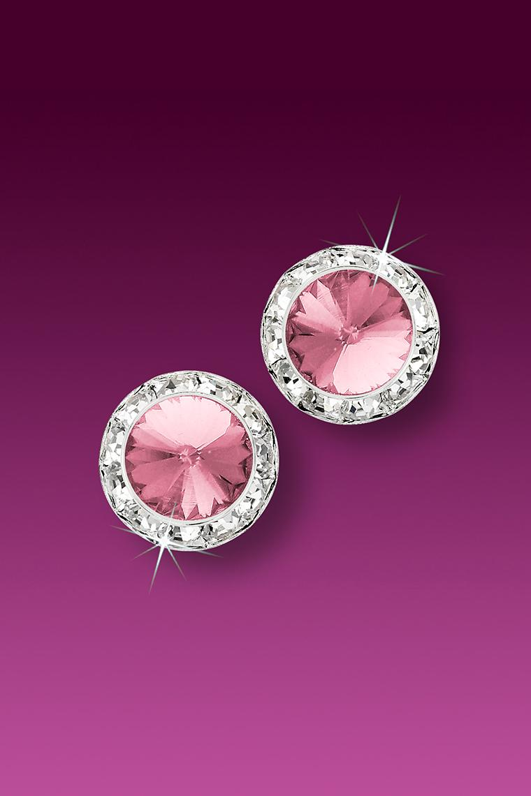 11mm Rhinestone Dance Earrings - Light Pink Pierced