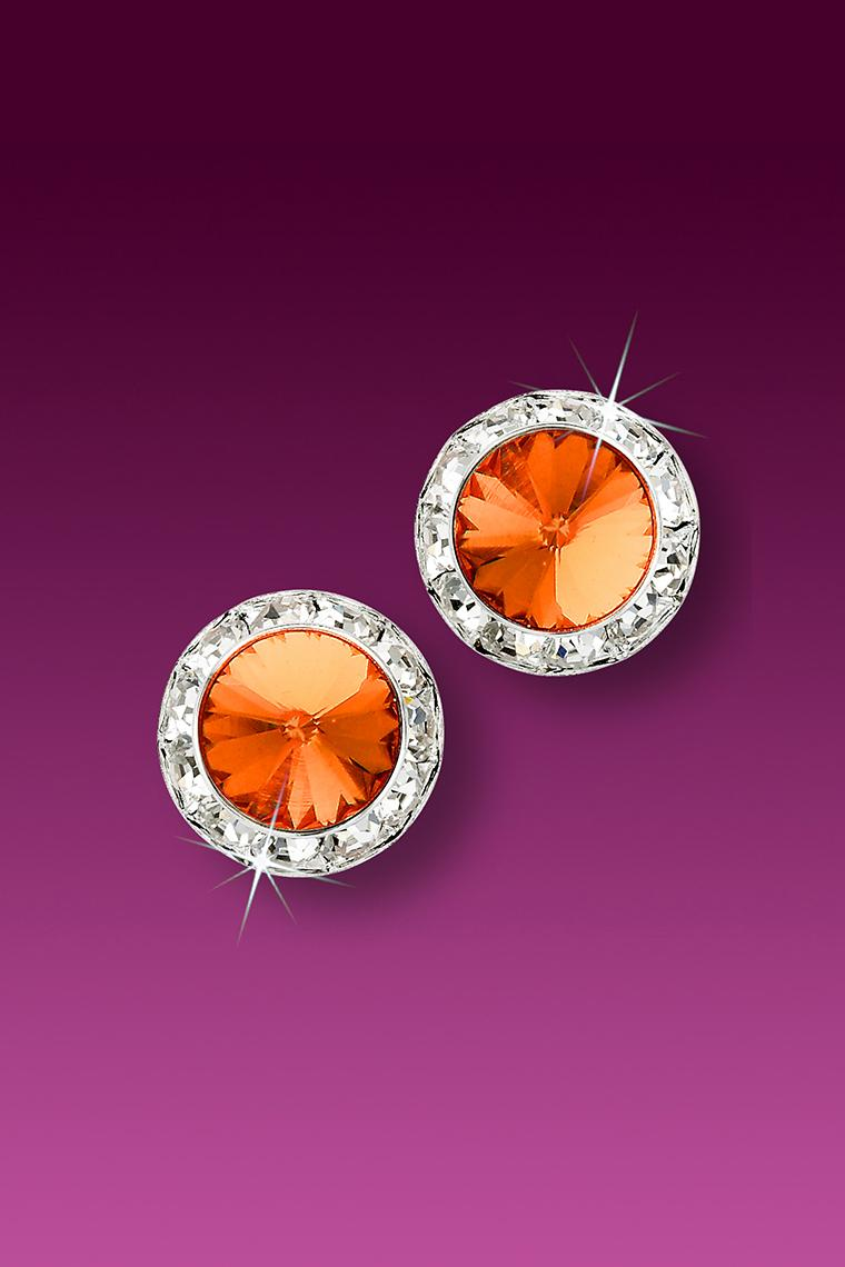 11mm Rhinestone Dance Earrings - Orange Pierced