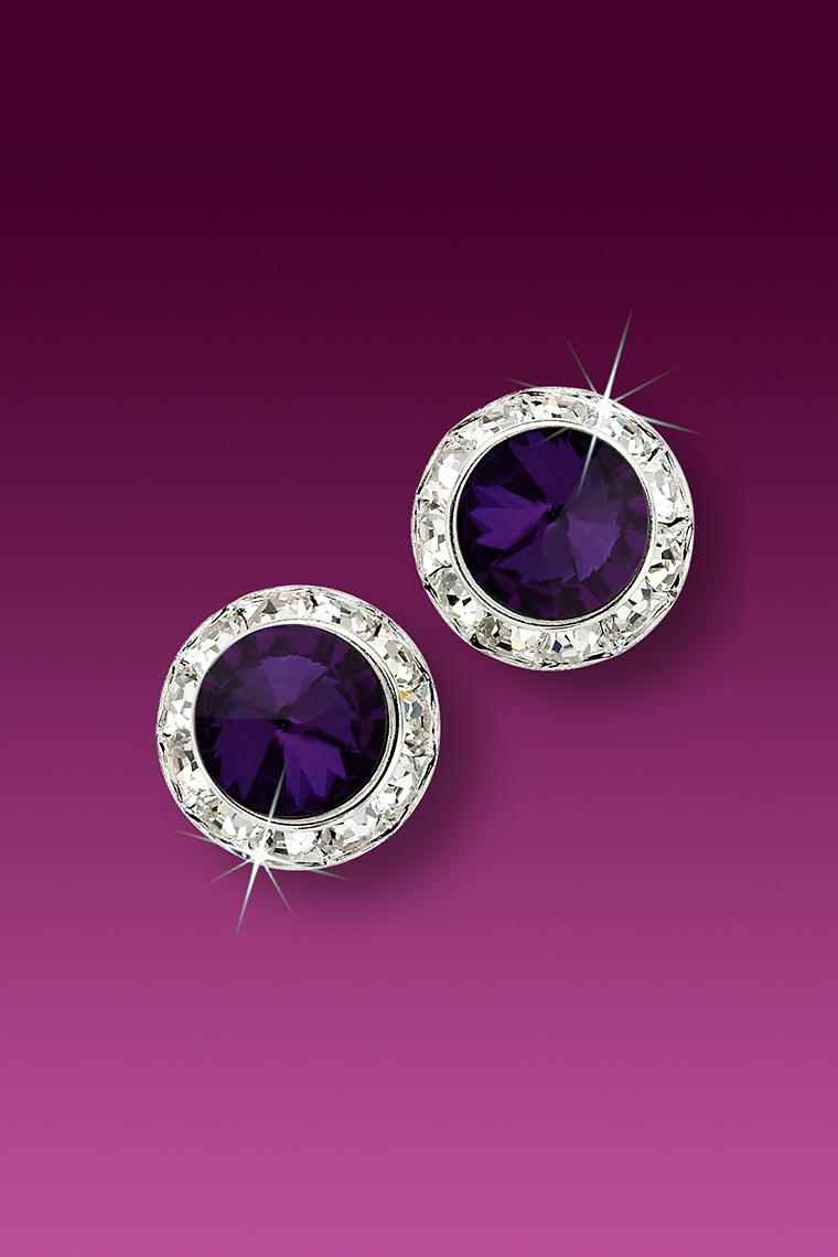 11mm Rhinestone Dance Earrings - Dark Purple Pierced