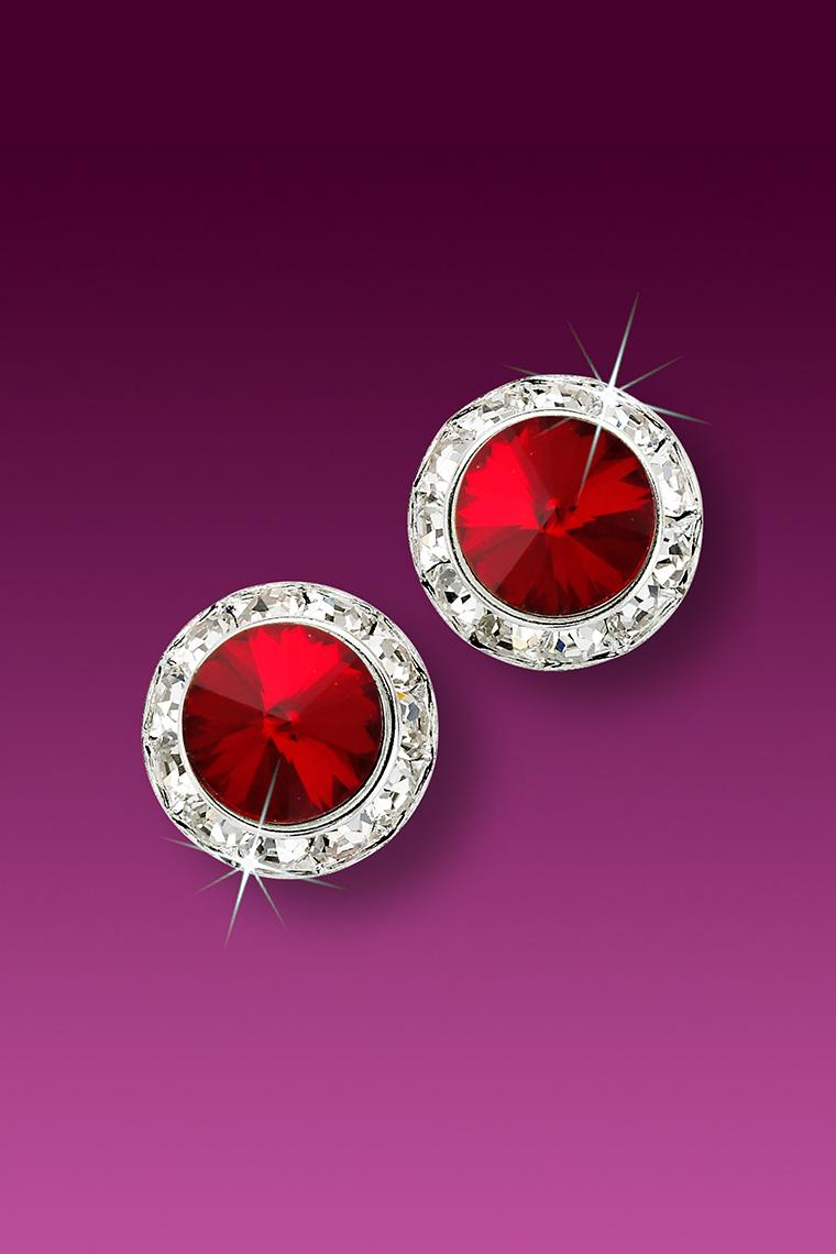 11mm Rhinestone Dance Earrings - Red Pierced