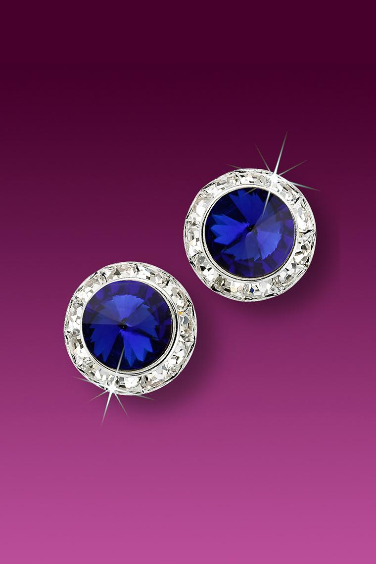 11mm Rhinestone Dance Earrings - Dark Blue Pierced