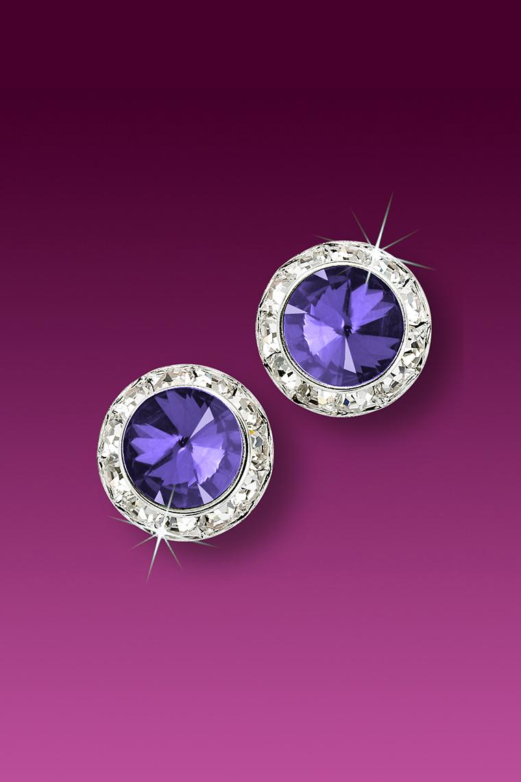 11mm Rhinestone Dance Earrings - Medium Purple Pierced