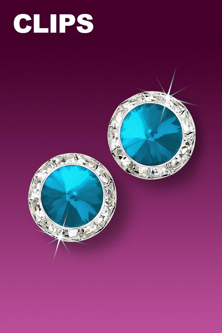 13mm Rhinestone Dance Earrings - Bright Blue Clip-On