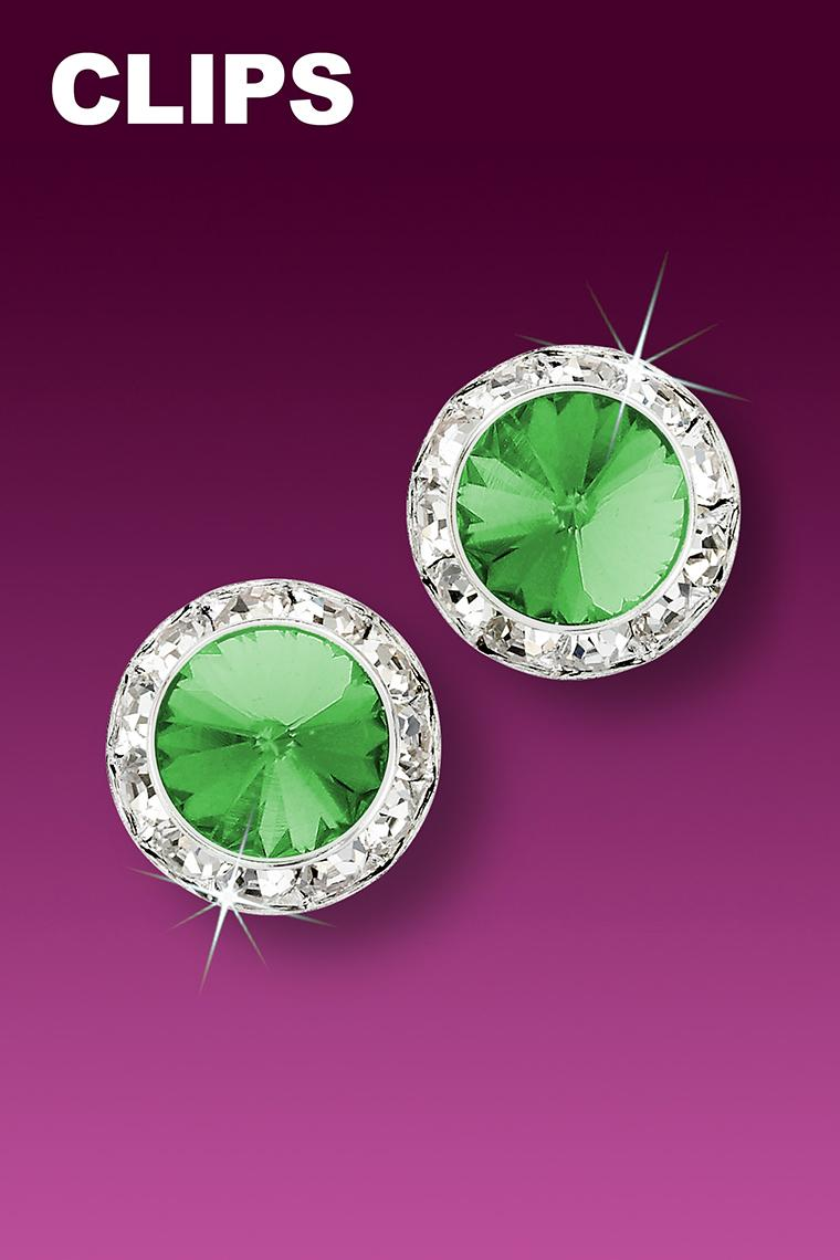 13mm Rhinestone Dance Earrings - Light Green Clip-On