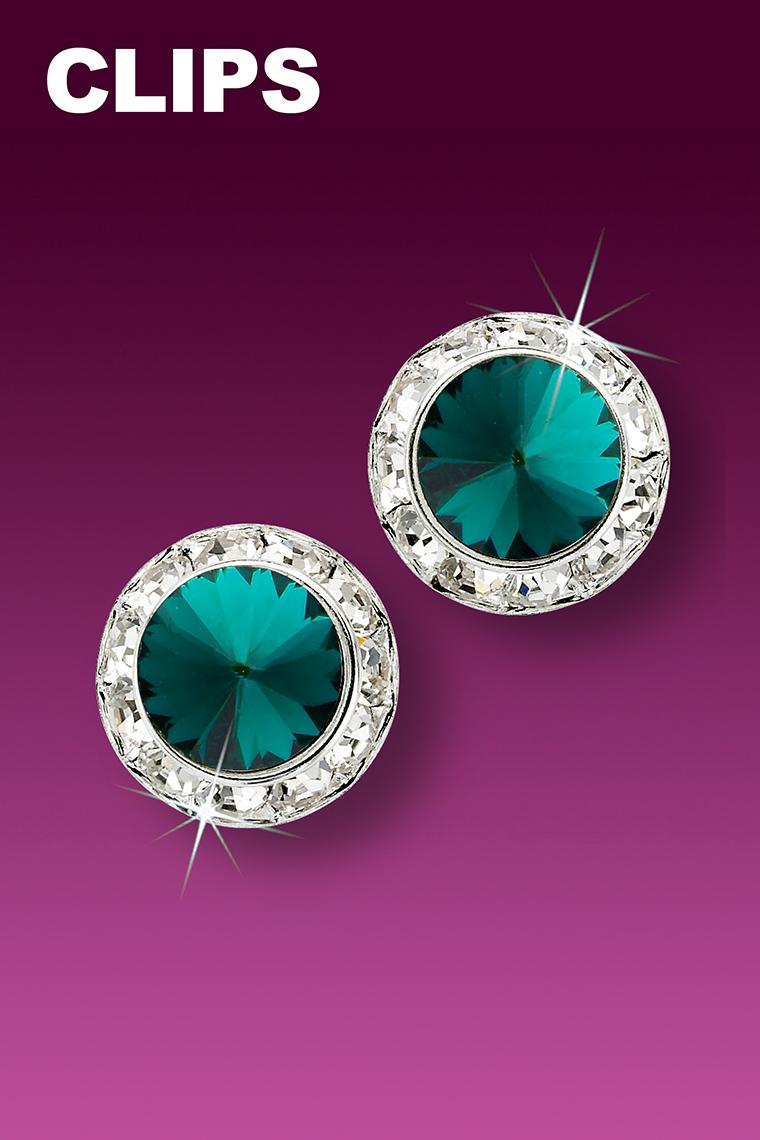 13mm Rhinestone Dance Earrings - Dark Green Clip-On