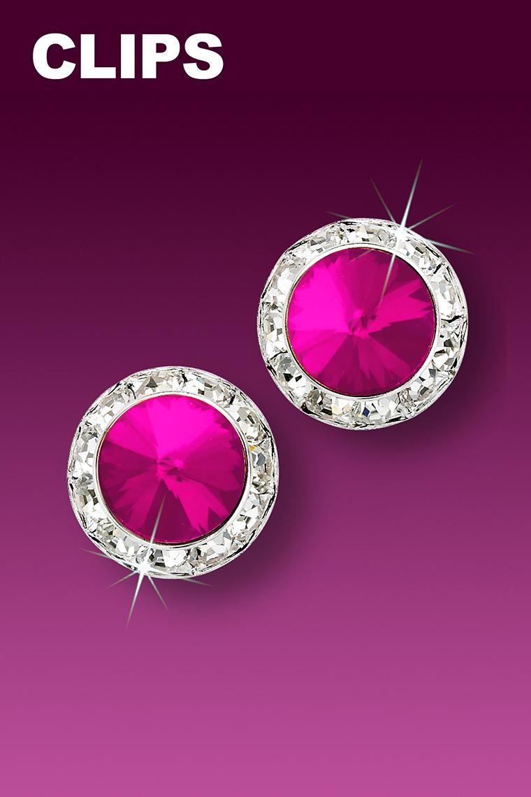 13mm Rhinestone Dance Earrings - Hot Pink Clip-On