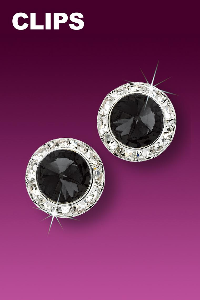 13mm Rhinestone Dance Earrings - Black Clip-On