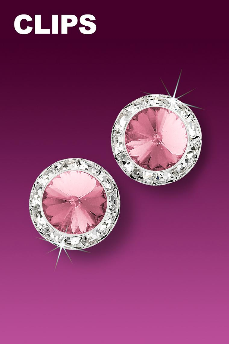 13mm Rhinestone Dance Earrings - Light Pink Clip-On