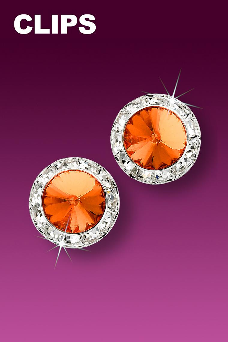13mm Rhinestone Dance Earrings - Orange Clip-On