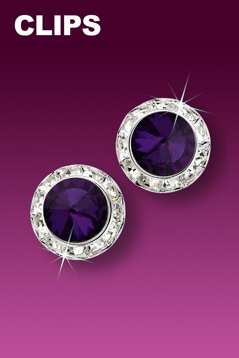 13mm Rhinestone Dance Earrings - Dark Purple Clip-On