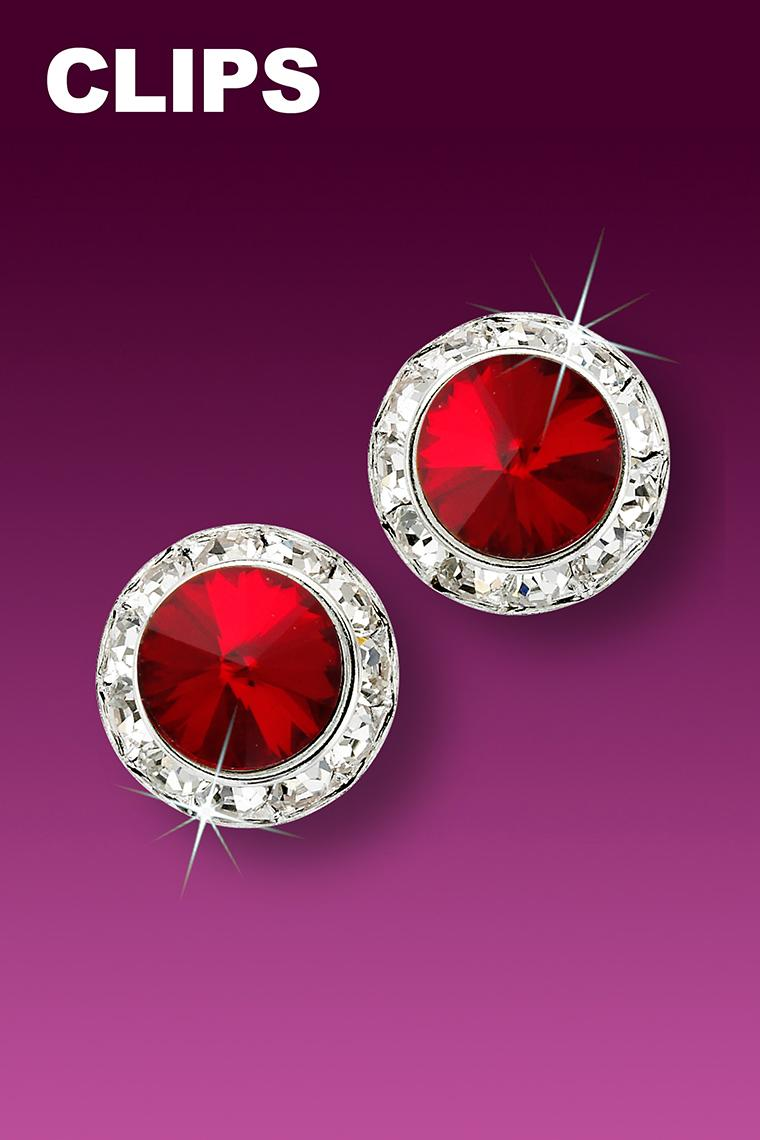 13mm Rhinestone Dance Earrings - Red Clip-On