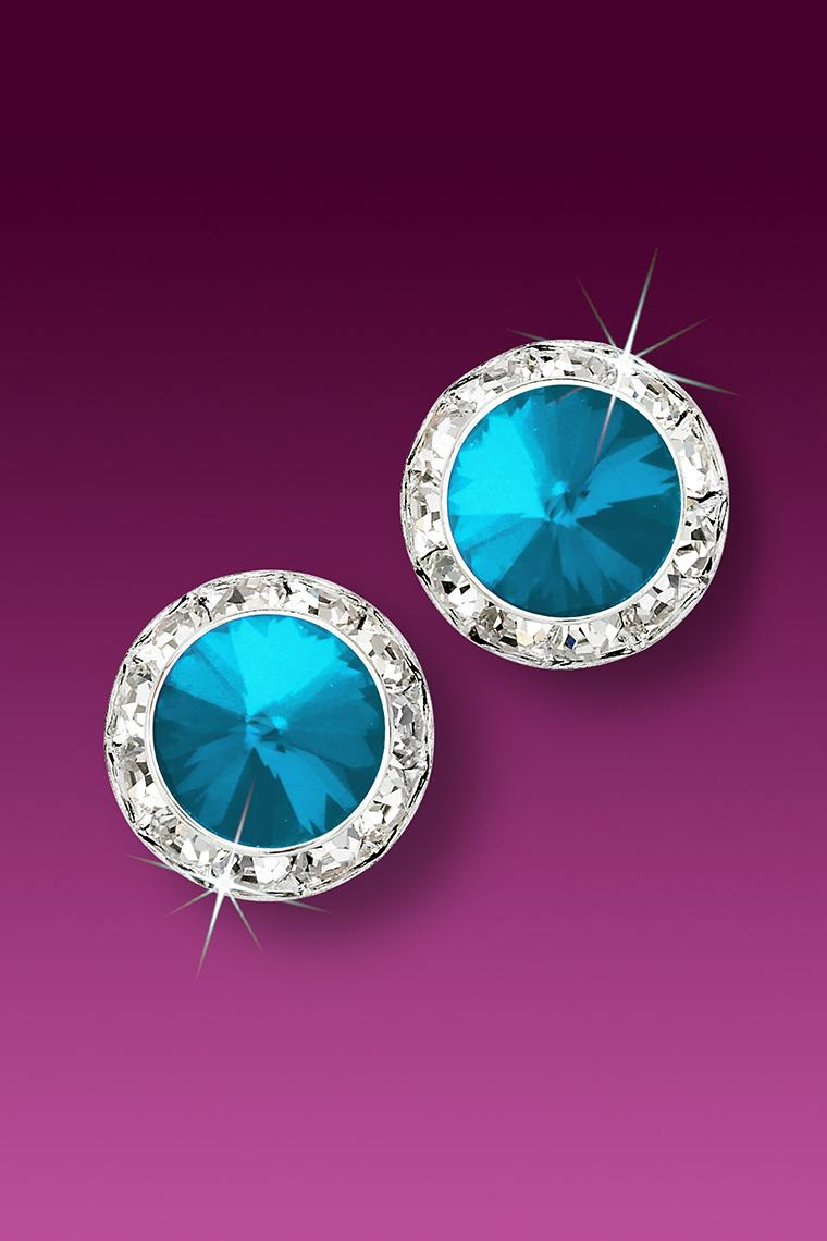 13mm Rhinestone Dance Earrings - Bright Blue Pierced