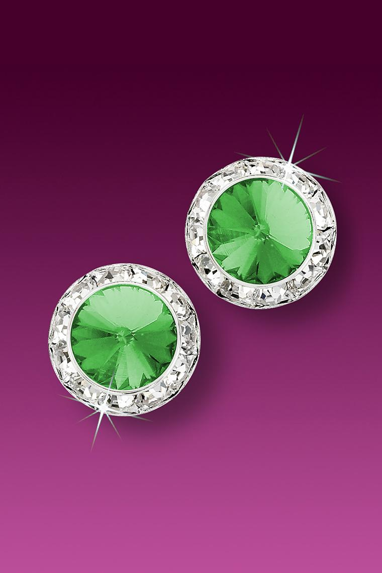 13mm Rhinestone Dance Earrings - Light Green Pierced