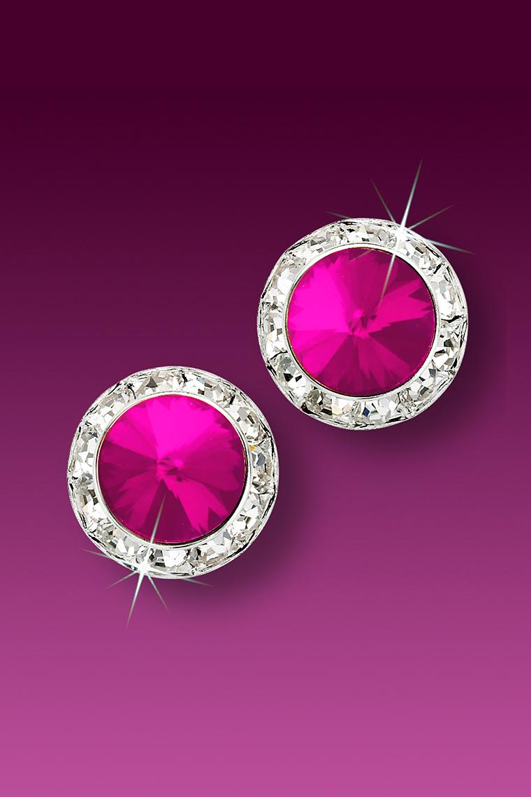 13mm Rhinestone Dance Earrings - Hot Pink Pierced