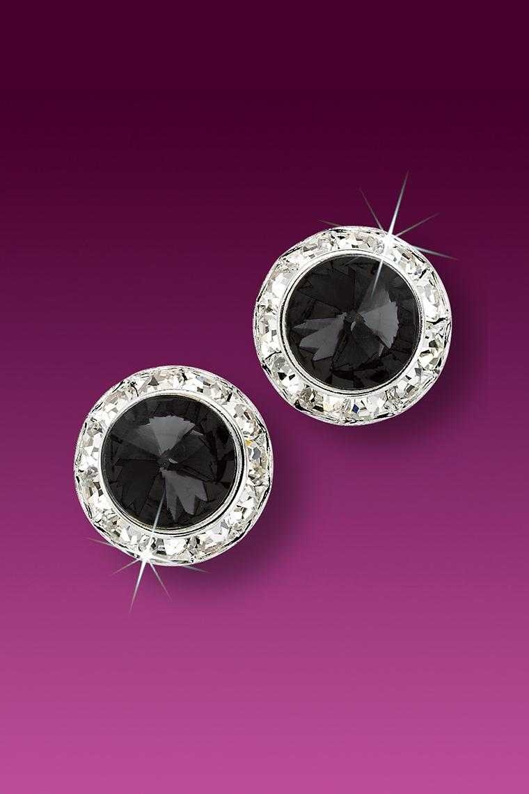 13mm Rhinestone Dance Earrings - Black Pierced