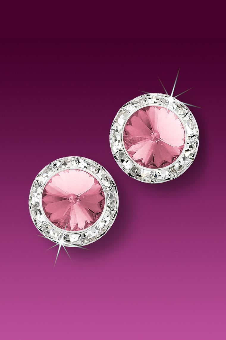 13mm Rhinestone Dance Earrings - Light Pink Pierced