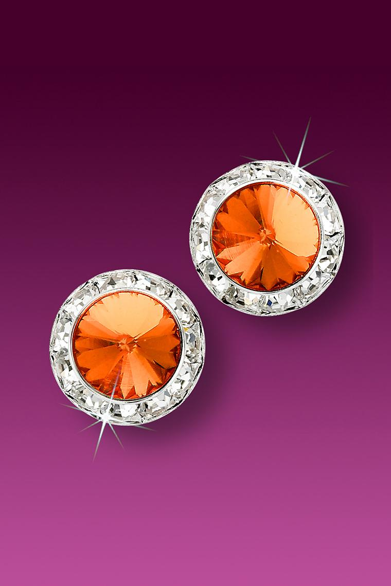 13mm Rhinestone Dance Earrings - Orange Pierced