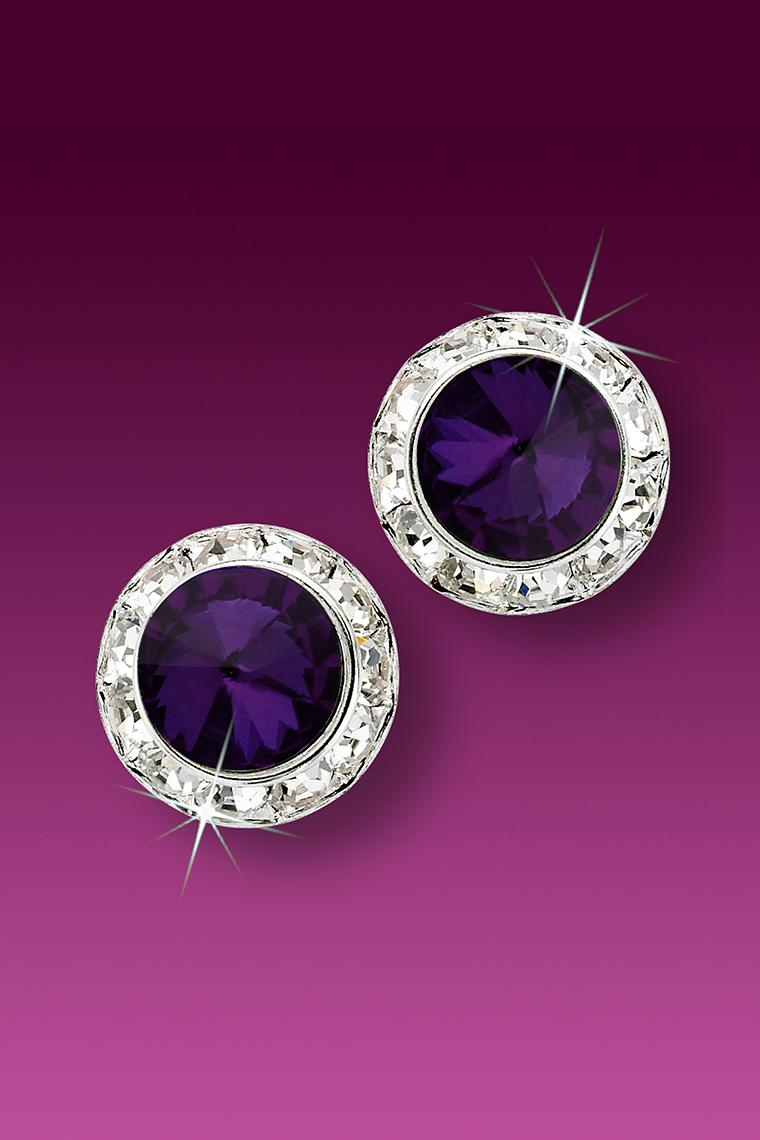 13mm Rhinestone Dance Earrings - Dark Purple Pierced