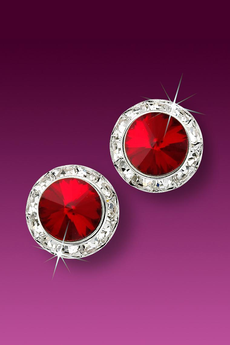 13mm Rhinestone Dance Earrings - Red Pierced