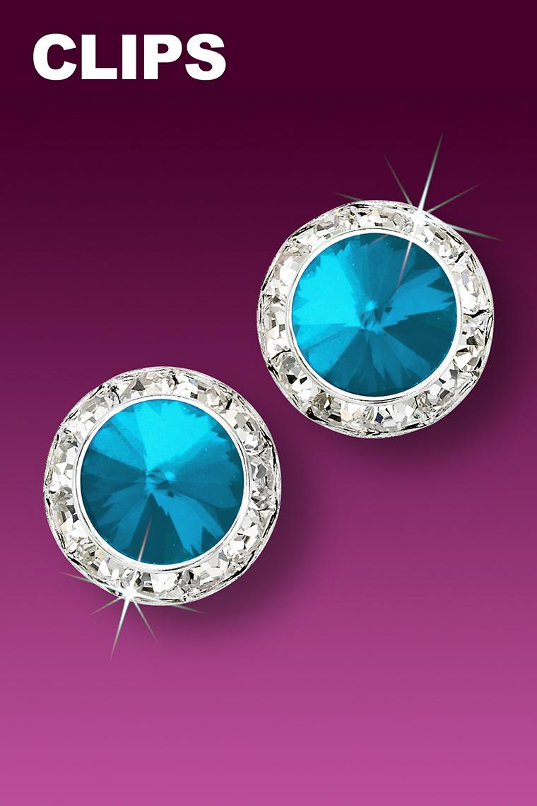 15mm Rhinestone Dance Earrings - Bright Blue Clip-On