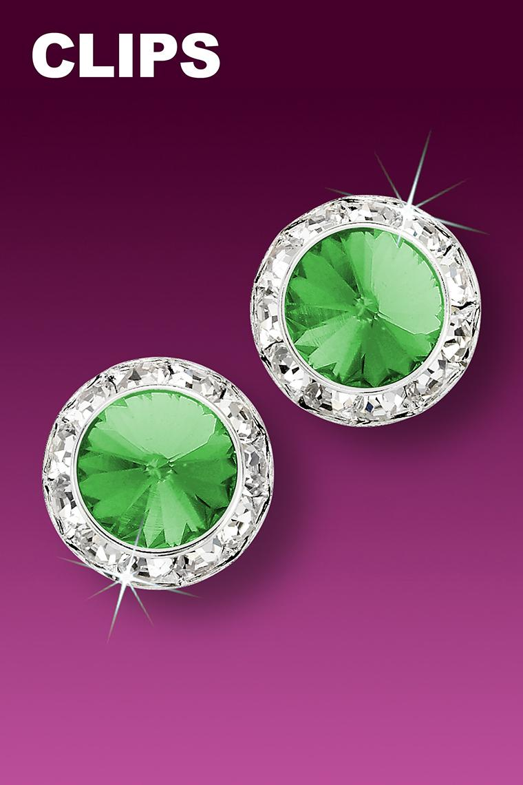 15mm Rhinestone Dance Earrings - Light Green Clip-On