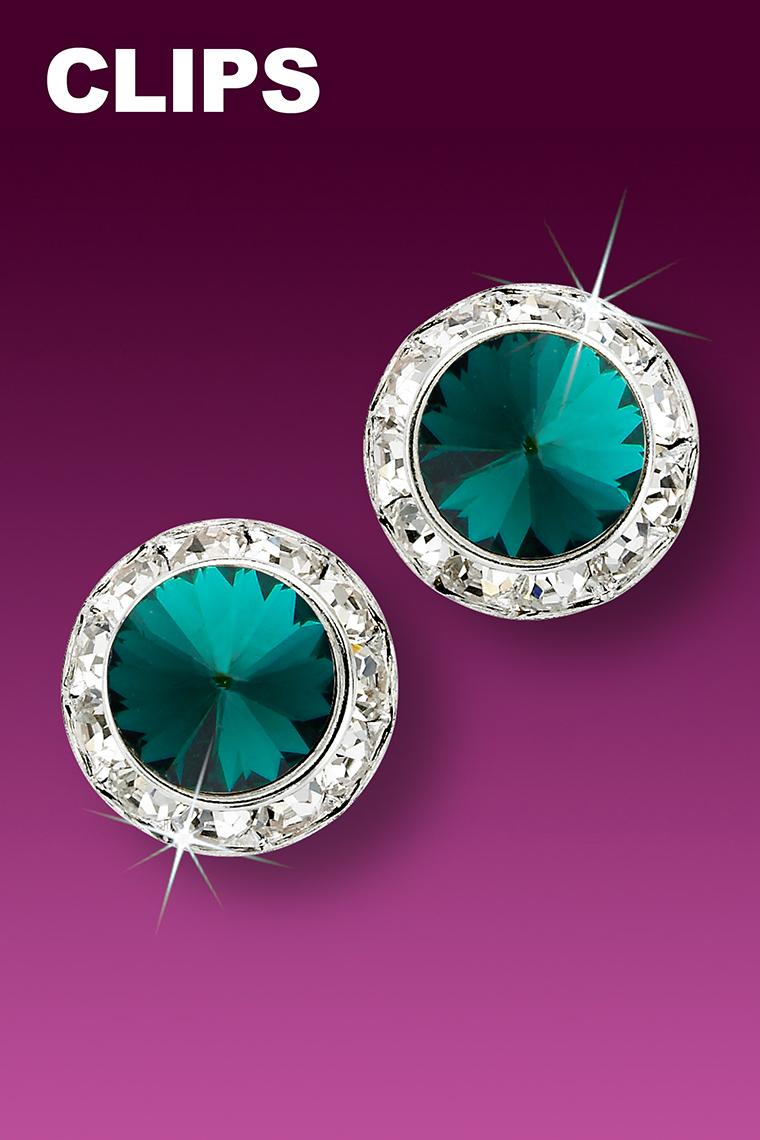 15mm Rhinestone Dance Earrings - Dark Green Clip-On
