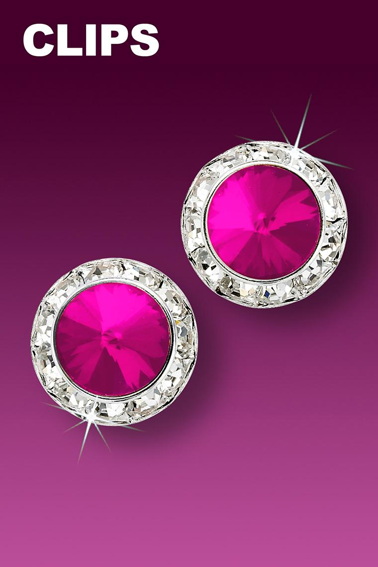 15mm Rhinestone Dance Earrings - Hot Pink Clip-On
