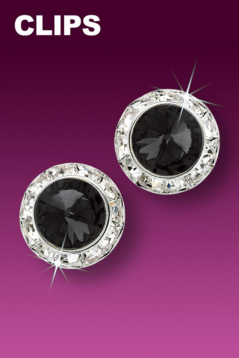 15mm Rhinestone Dance Earrings - Black Clip-On
