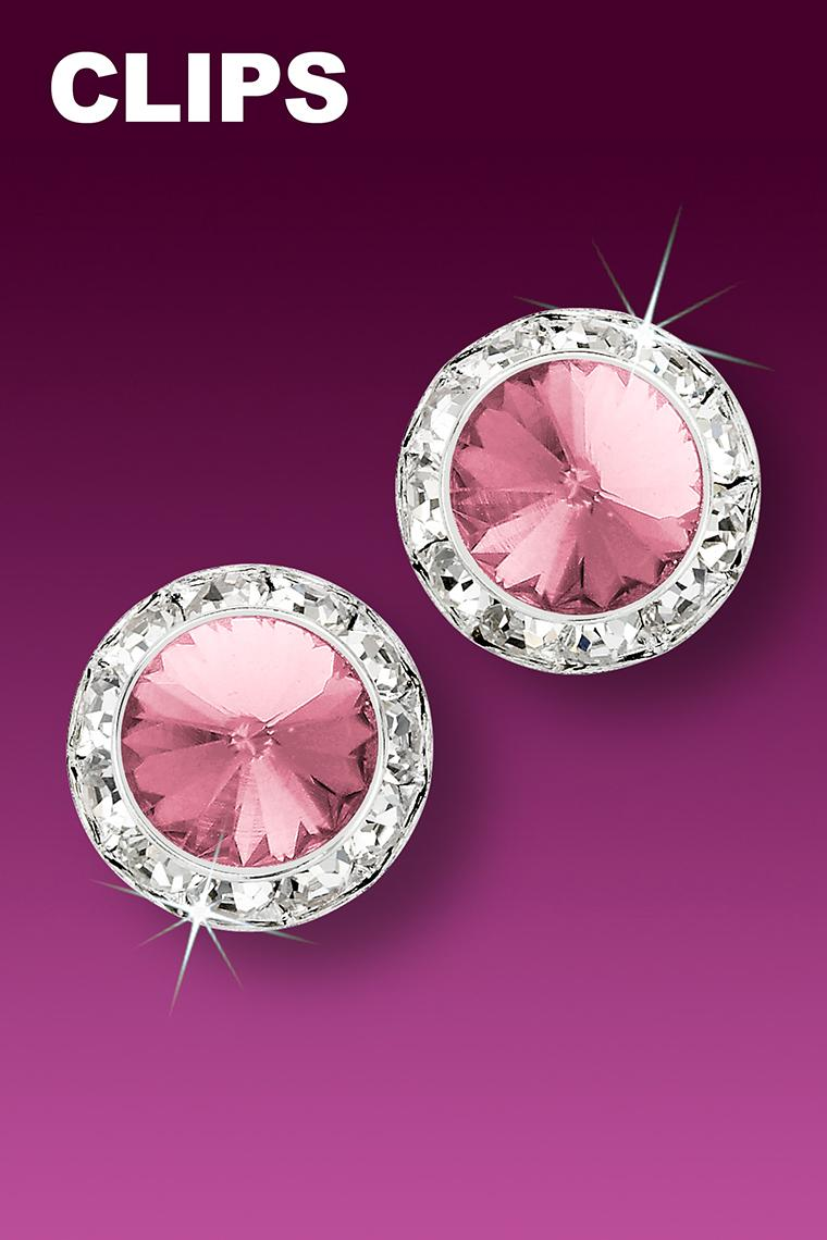 15mm Rhinestone Dance Earrings - Light Pink Clip-On