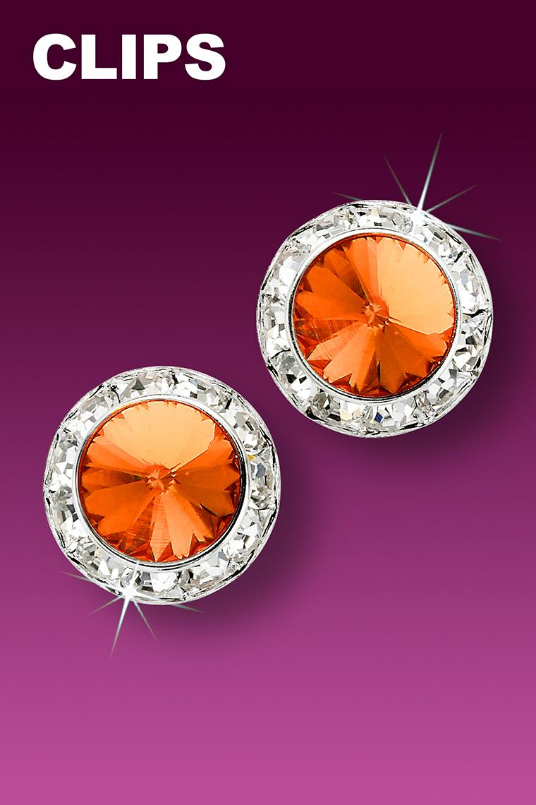 15mm Rhinestone Dance Earrings - Orange Clip-On