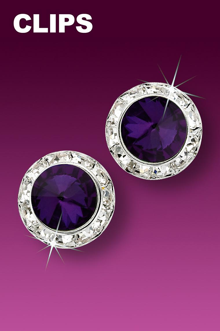 15mm Rhinestone Dance Earrings - Dark Purple Clip-On