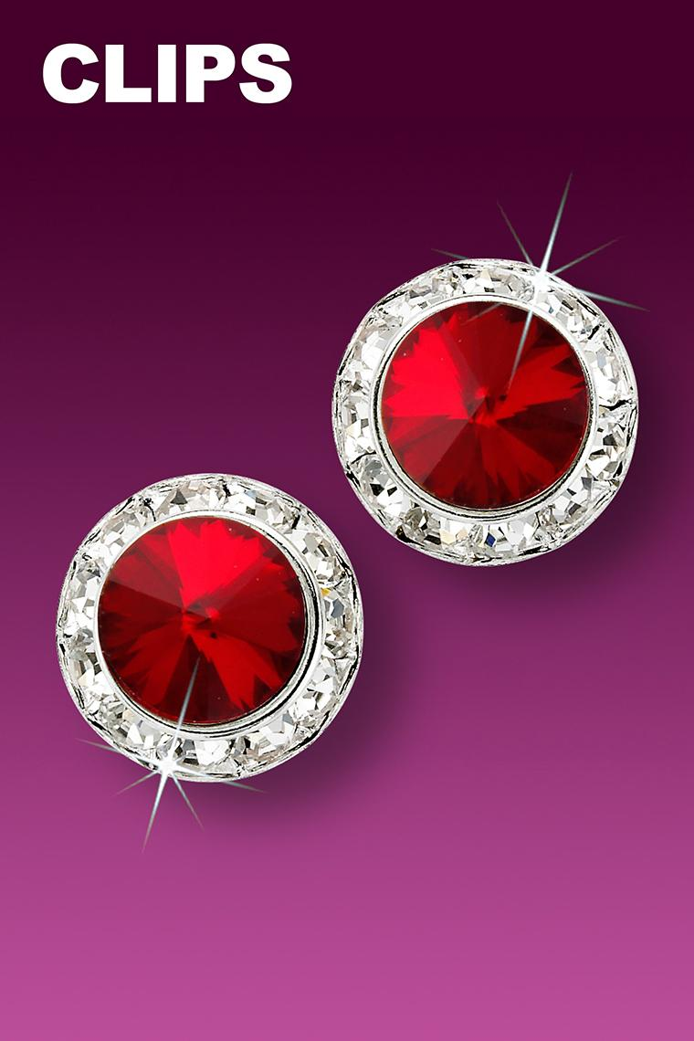 15mm Rhinestone Dance Earrings - Red Clip-On
