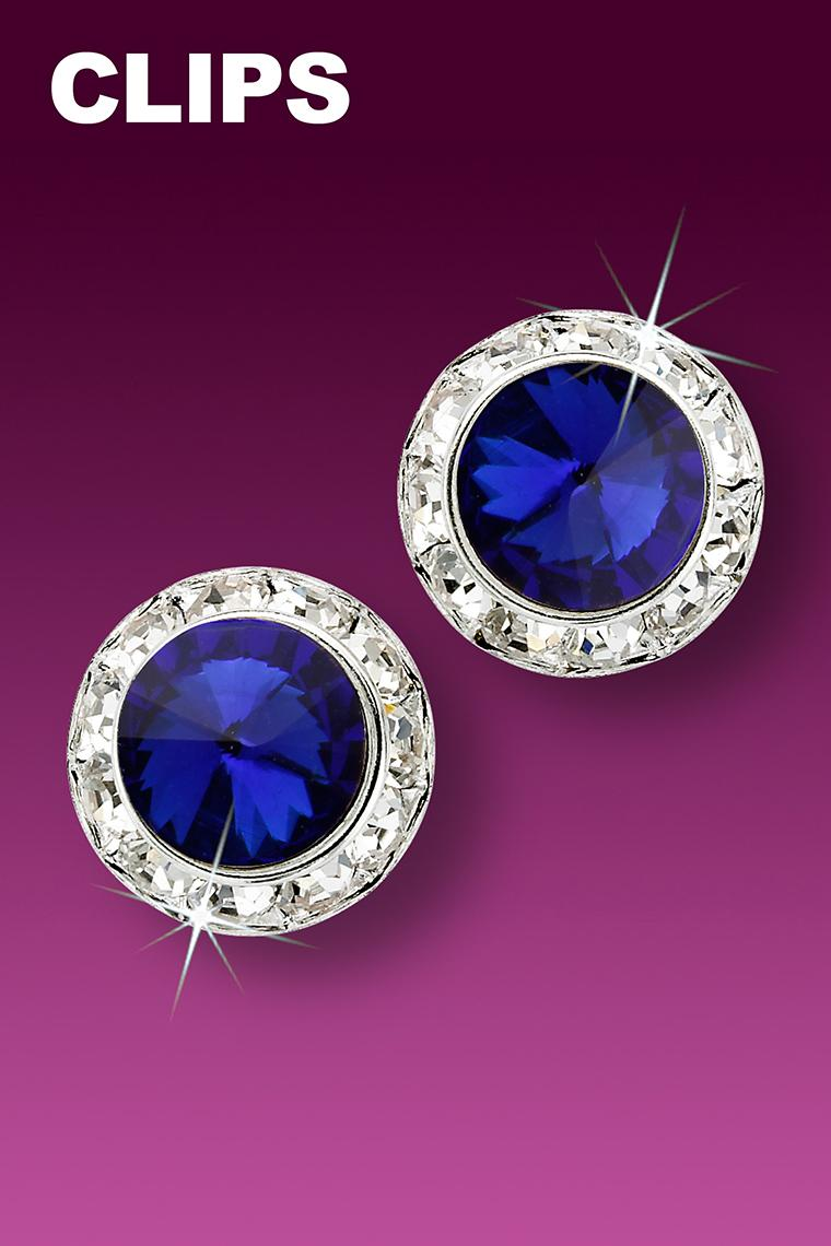 15mm Rhinestone Dance Earrings - Dark Blue Clip-On