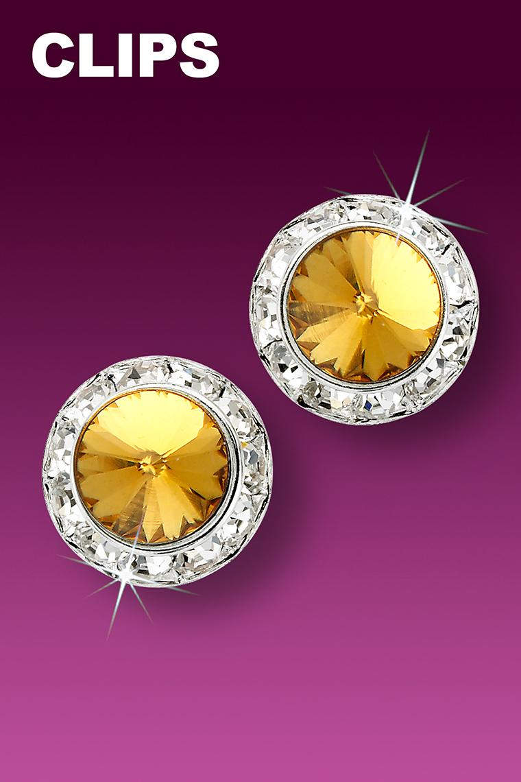 15mm Rhinestone Dance Earrings - Gold Clip-On