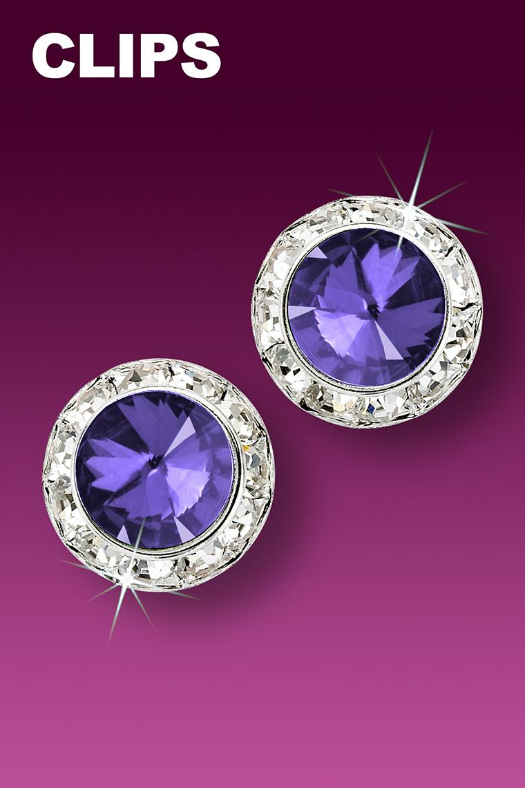 15mm Rhinestone Dance Earrings - Medium Purple Clip-On