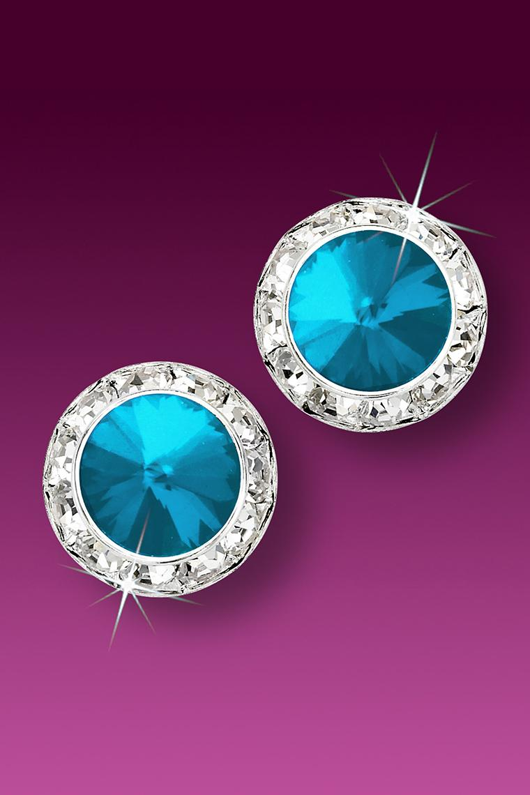 15mm Rhinestone Dance Earrings - Bright Blue Pierced