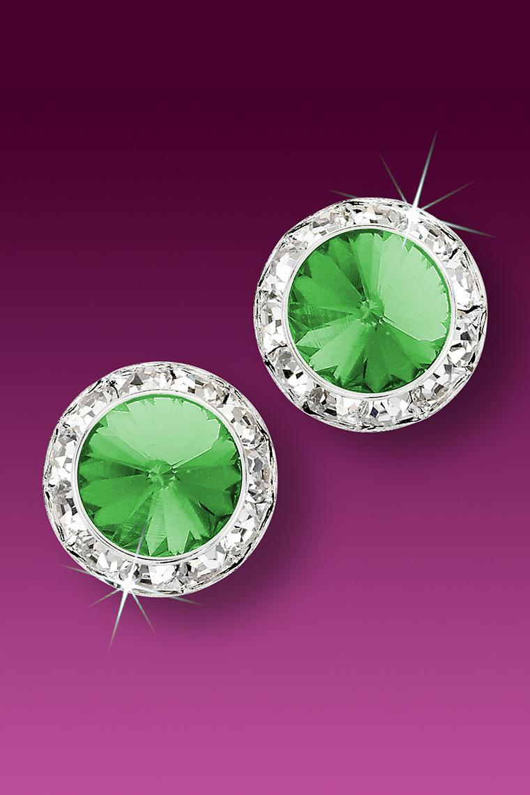 15mm Rhinestone Dance Earrings - Light Green Pierced