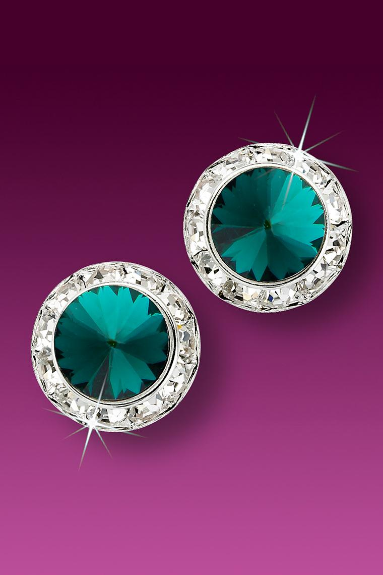 15mm Rhinestone Dance Earrings - Dark Green Pierced